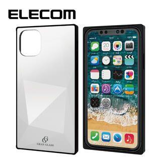 iPhone 11 ケース エレコム スクエア ガラス TPU ハイブリッドケース ホワイト2 iPhone 11