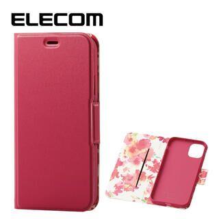 iPhone 11 ケース エレコム レザー手帳型 超軽量 花柄 ディープピンク iPhone 11