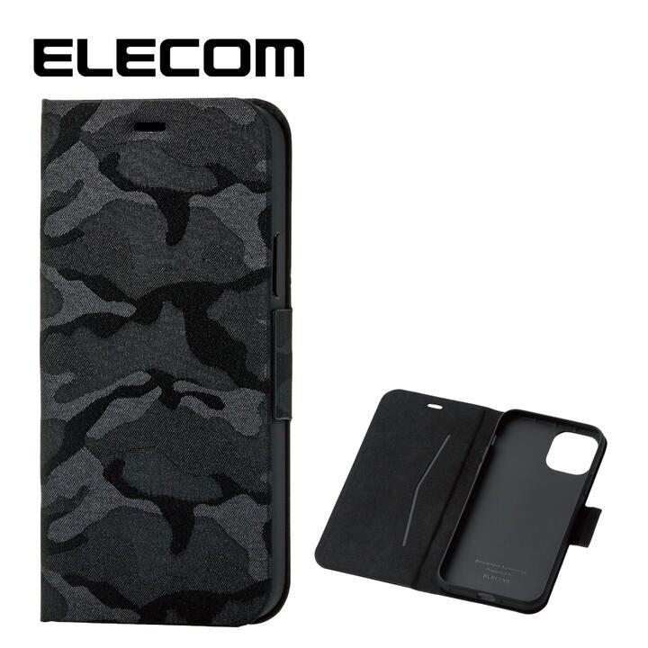 iPhone 11 Pro ケース エレコム レザー手帳型ケース 薄型・超軽量 迷彩 カモフラ ブラック iPhone 11 Pro_0