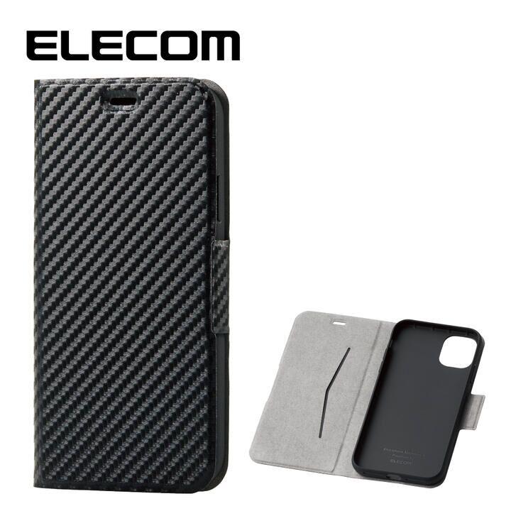 iPhone 11 ケース エレコム ウルトラスリムタイプ ソフト手帳型レザーケース カーボン調(ブラック) iPhone 11_0