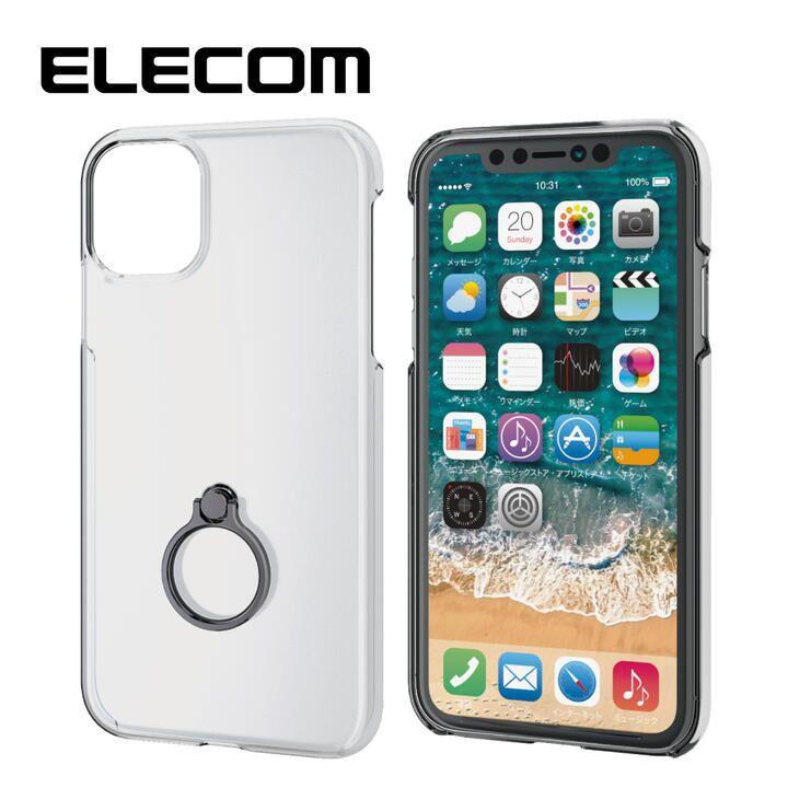 iPhone 11 ケース エレコム リング付クリアハードケース ブラック iPhone 11_0