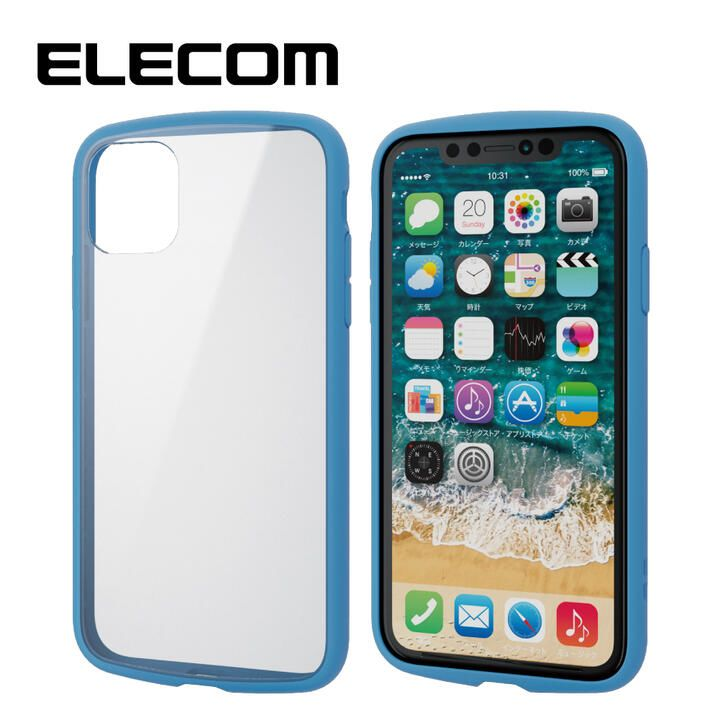 iPhone 11 ケース エレコム TOUGH SLIM LITE 衝撃吸収ケース クリアブルー iPhone 11_0