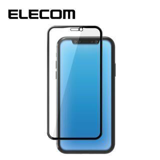 iPhone 11/XR フィルム エレコム 強化ガラス 9H全面 超強化 指紋防止 ブラック リアルガラス iPhone 11/XR