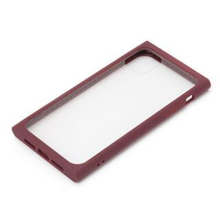 iPhone 11 ケース クリアガラス タフケース スクエア型 レッド iPhone 11