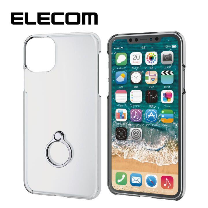 iPhone 11 Pro Max ケース エレコム リング付クリアハードケース シルバー iPhone 11 Pro Max_0