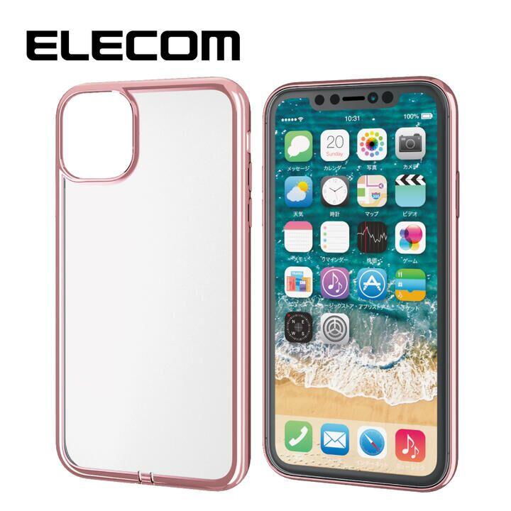 iPhone 11 ケース エレコム メタリック加工 シンプルクリアソフトケース ローズゴールド iPhone 11_0