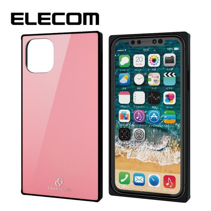 iPhone 11 ケース エレコム スクエア ガラス TPU ハイブリッドケース ピンク1 iPhone 11_0