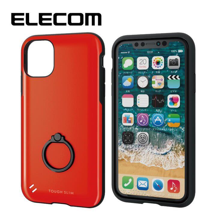 iPhone 11 ケース エレコム 耐衝撃ケース TOUGH SLIM フィンガーリング レッド iPhone 11_0