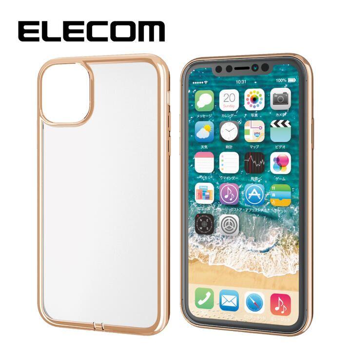 iPhone 11 ケース エレコム メタリック加工 シンプルクリアソフトケース ゴールド iPhone 11_0