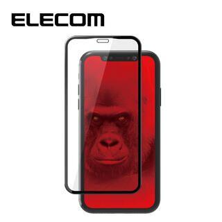 iPhone 11/XR フィルム エレコム 強化ガラス 9H全面 指紋防止 フレーム ブラック リアルガラス iPhone 11/XR