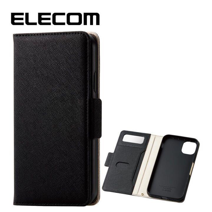 iPhone 11 ケース エレコム ミラー付き ICカード収納 手帳型ケース ブラック iPhone 11_0