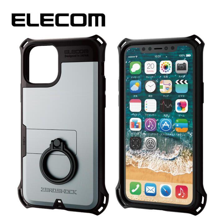 iPhone 11 Pro ケース エレコム リング付き ZEROSHOCK 超耐衝撃ケース シルバー iPhone 11 Pro_0