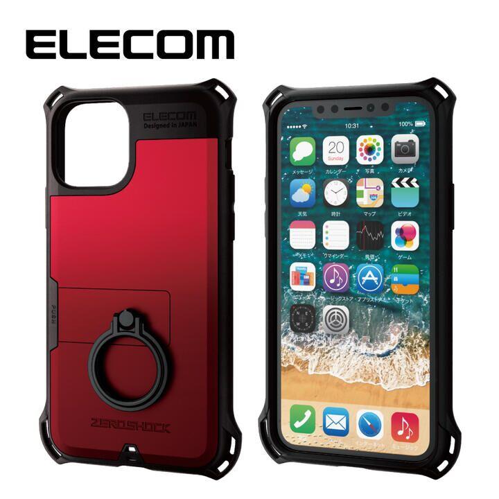 iPhone 11 Pro ケース エレコム リング付き ZEROSHOCK 超耐衝撃ケース レッド iPhone 11 Pro_0