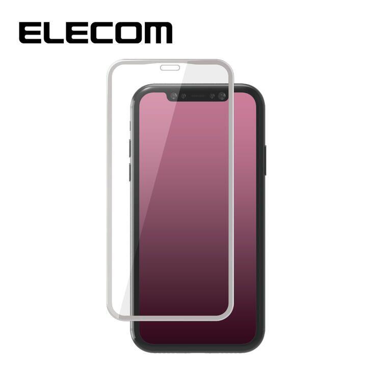 iPhone XR フィルム エレコム 強化ガラス 9H全面 指紋防止 フレーム ホワイト iPhone 11/XR_0