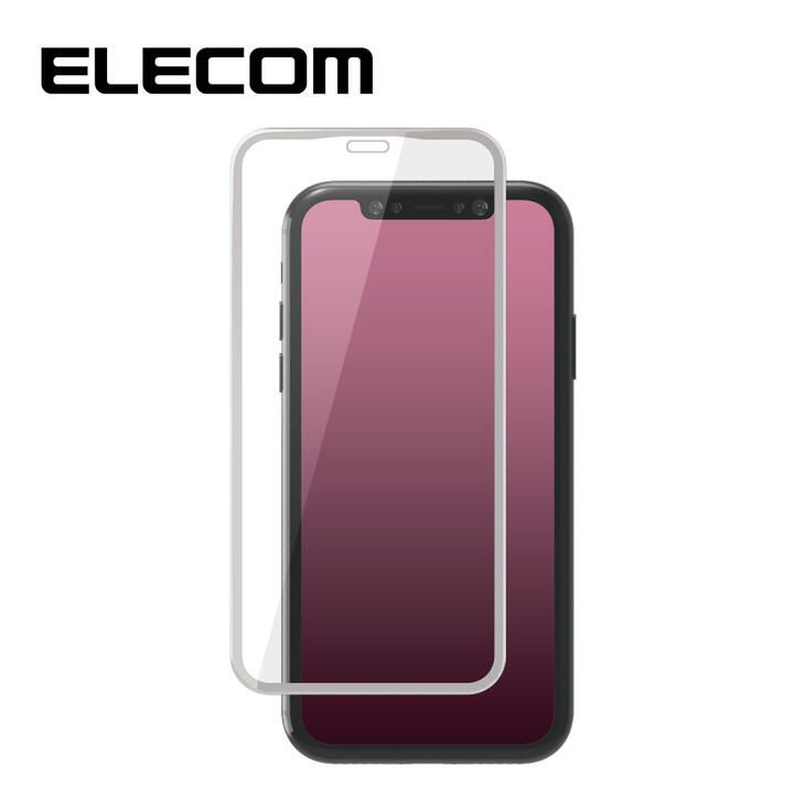 iPhone 11/XR フィルム エレコム 強化ガラス 9H全面 指紋防止 フレーム ホワイト iPhone 11/XR_0