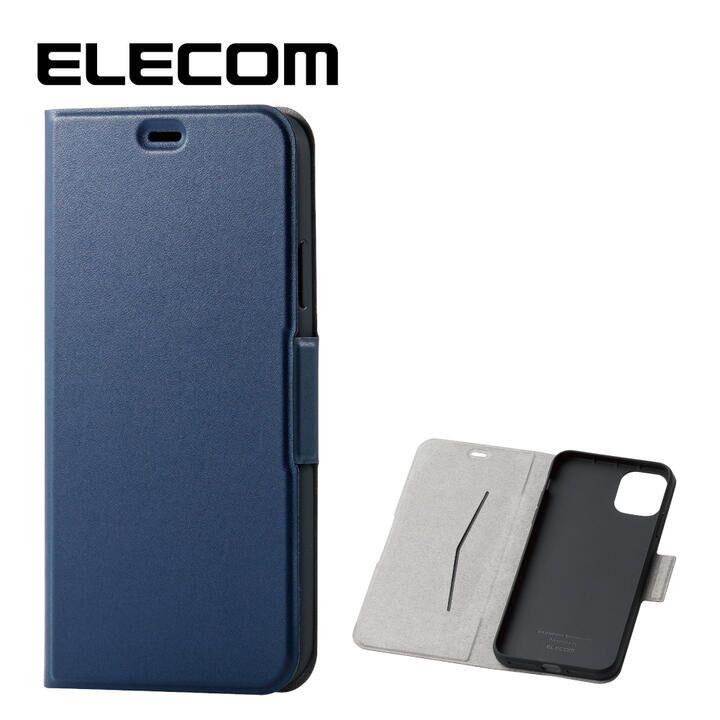 エレコム ウルトラスリムタイプ ソフト手帳型レザーケース ネイビー iPhone 11 Pro Max_0