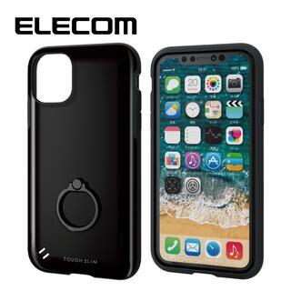 iPhone 11 ケース エレコム 耐衝撃ケース TOUGH SLIM フィンガーリング ブラック iPhone 11