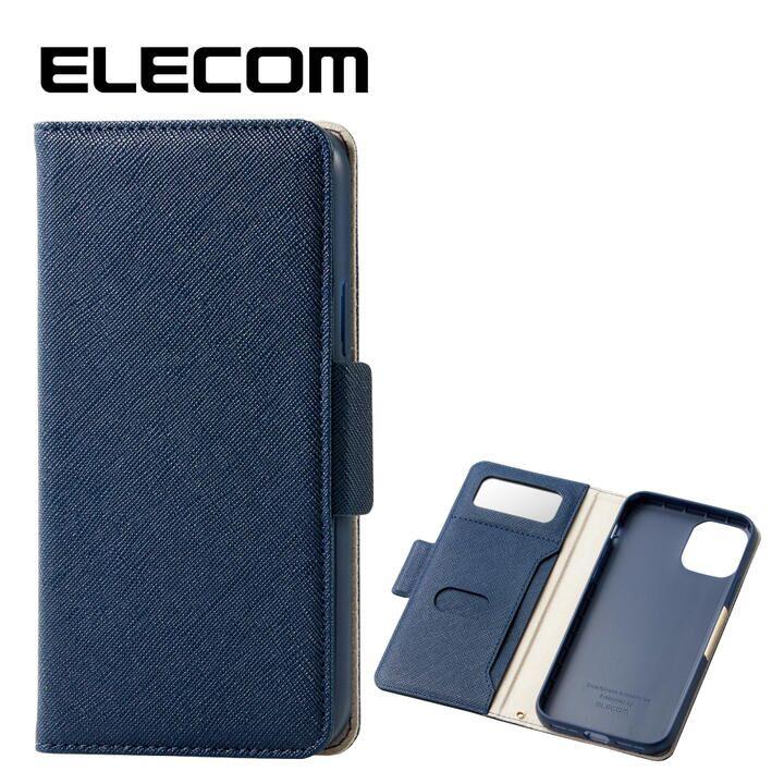 エレコム ミラー付き ICカード収納 手帳型ケース ネイビー iPhone 11 Pro_0