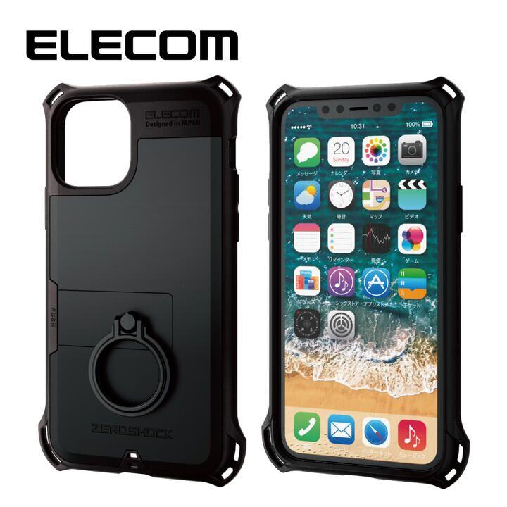 iPhone 11 Pro ケース エレコム リング付き ZEROSHOCK 超耐衝撃ケース ブラック iPhone 11 Pro_0