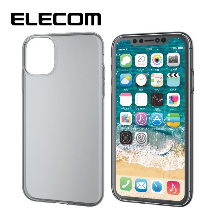 iPhone 11 ケース エレコム ソフトクリアTPU薄型ケース 0.7mm ブラック iPhone 11_0