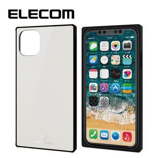 iPhone 11 ケース エレコム スクエア ガラス TPU ハイブリッドケース ホワイト1 iPhone 11