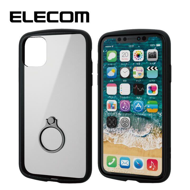 iPhone 11 ケース エレコム TOUGH SLIM LITE リング 衝撃吸収ケース ブラック iPhone 11_0