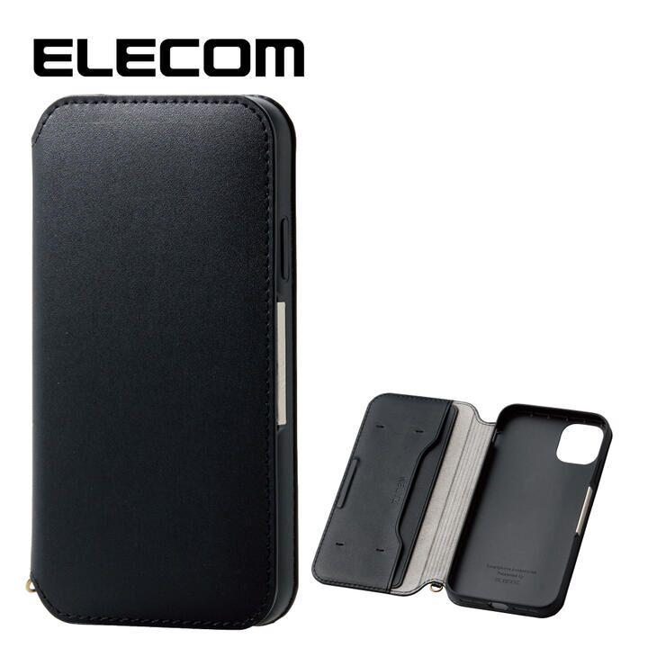 iPhone 11 ケース エレコム NEUTZ レザー手帳型ケース  耐衝撃 カード収納 ブラック iPhone 11_0