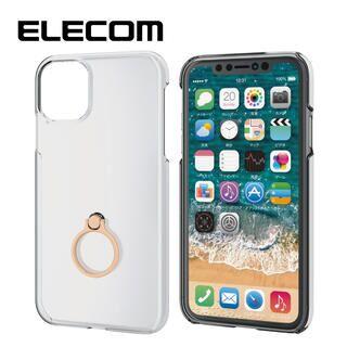 iPhone 11 ケース エレコム リング付クリアハードケース ゴールド iPhone 11