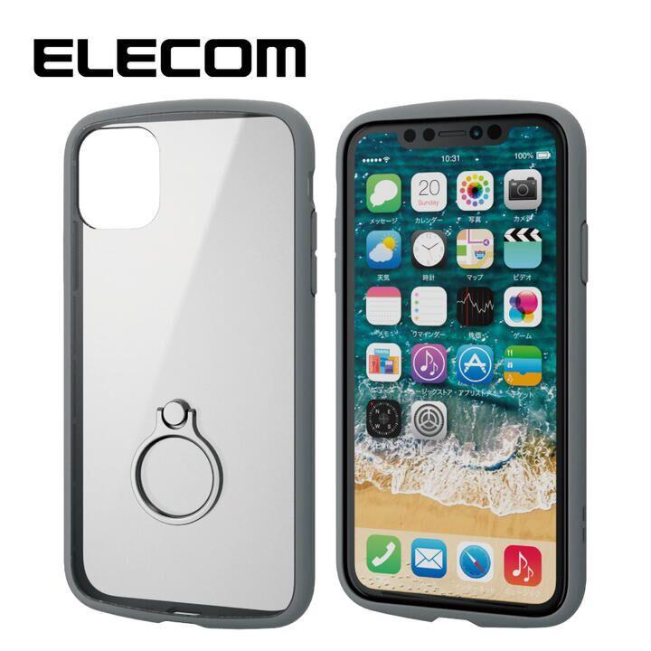 iPhone 11 ケース エレコム TOUGH SLIM LITE リング 衝撃吸収ケース グレー iPhone 11_0