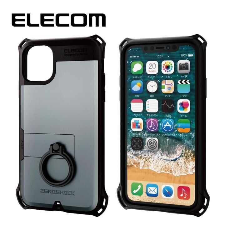 iPhone 11 ケース エレコム リング付き ZEROSHOCK 超耐衝撃ケース シルバー iPhone 11_0