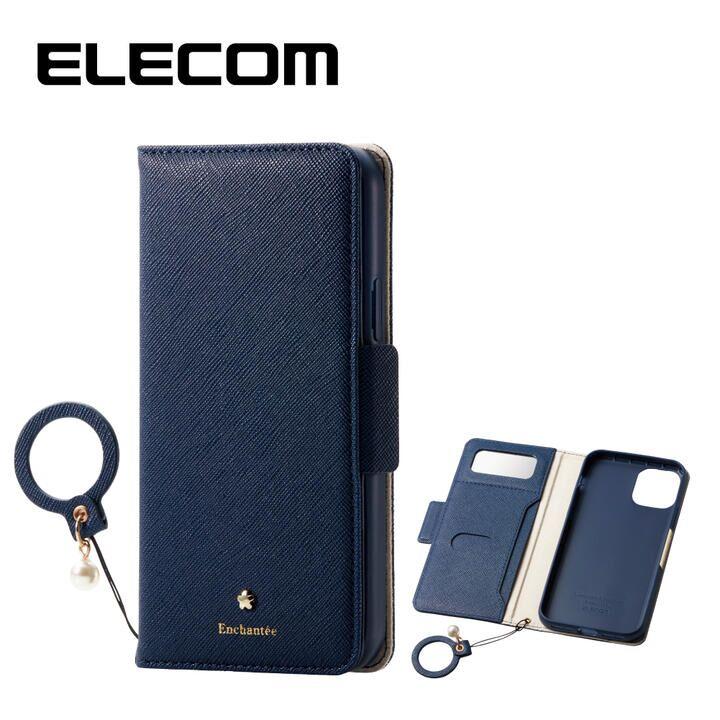 iPhone 11 Pro ケース エレコム ミラー付き ICカード収納 フィンガーストラップ付き 手帳型ケース ネイビー iPhone 11 Pro_0