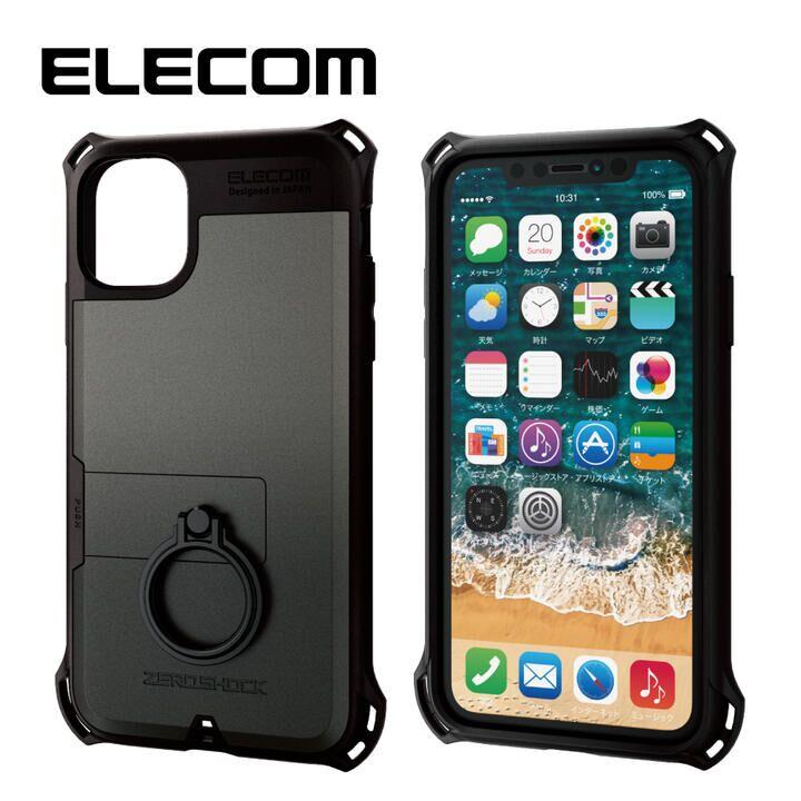 iPhone 11 ケース エレコム リング付き ZEROSHOCK 超耐衝撃ケース ガンメタリック iPhone 11_0