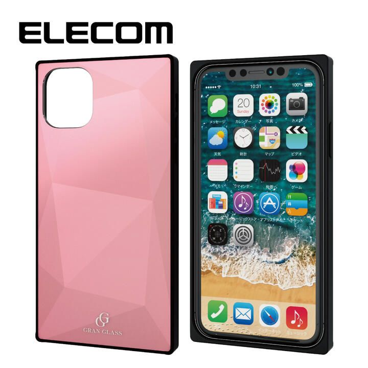 iPhone 11 ケース エレコム スクエア ガラス TPU ハイブリッドケース ピンク2 iPhone 11_0