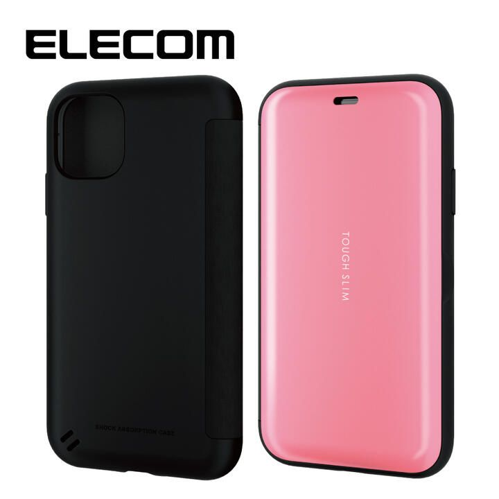 エレコム TOUGH SLIM 衝撃吸収手帳型ケース ピンク iPhone 11_0