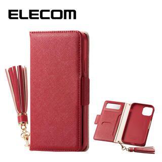 iPhone 11 ケース エレコム ミラー付き ICカード収納 タッセル付き 手帳型ケース レッド iPhone 11