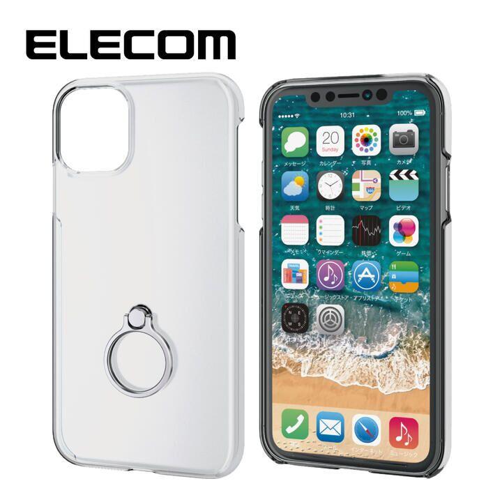 iPhone 11 ケース エレコム リング付クリアハードケース シルバー iPhone 11_0