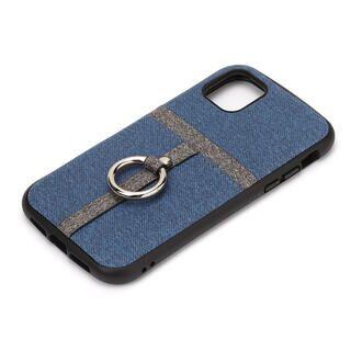 iPhone 11 ケース ポケット&リング付ハイブリッドタフケース デニム調ブルー iPhone 11