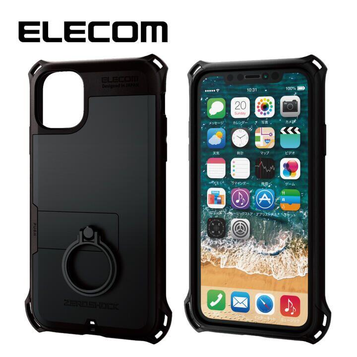 iPhone 11 ケース エレコム リング付き ZEROSHOCK 超耐衝撃ケース ブラック iPhone 11_0