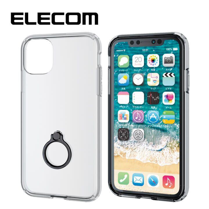 iPhone 11 ケース エレコム リング付耐衝撃ハイブリッドケース ブラック iPhone 11_0