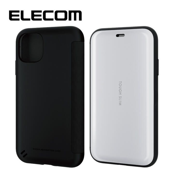 iPhone 11 ケース エレコム TOUGH SLIM 衝撃吸収手帳型ケース ホワイト iPhone 11_0