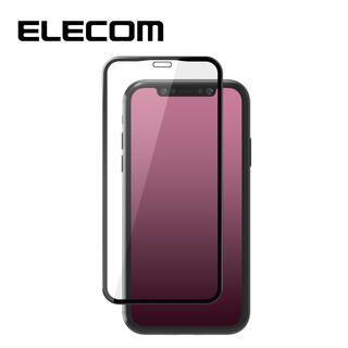 iPhone 11/XR フィルム エレコム 強化ガラス 9H全面 指紋防止 フレーム ブラック セラミックコート iPhone 11/XR