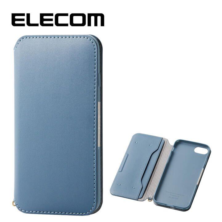 iPhone8/7 ケース エレコム NEUTZ レザー手帳型ケース  耐衝撃 カード収納 ブルー iPhone 8/7_0
