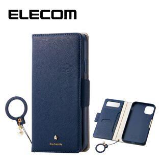 iPhone 11 ケース エレコム ミラー付き ICカード収納 フィンガーストラップ付き 手帳型ケース ネイビー iPhone 11