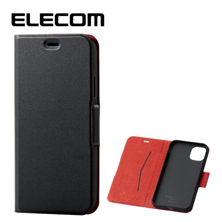 iPhone 11 ケース エレコム ウルトラスリムタイプ ソフト手帳型レザーケース ブラック iPhone 11_0