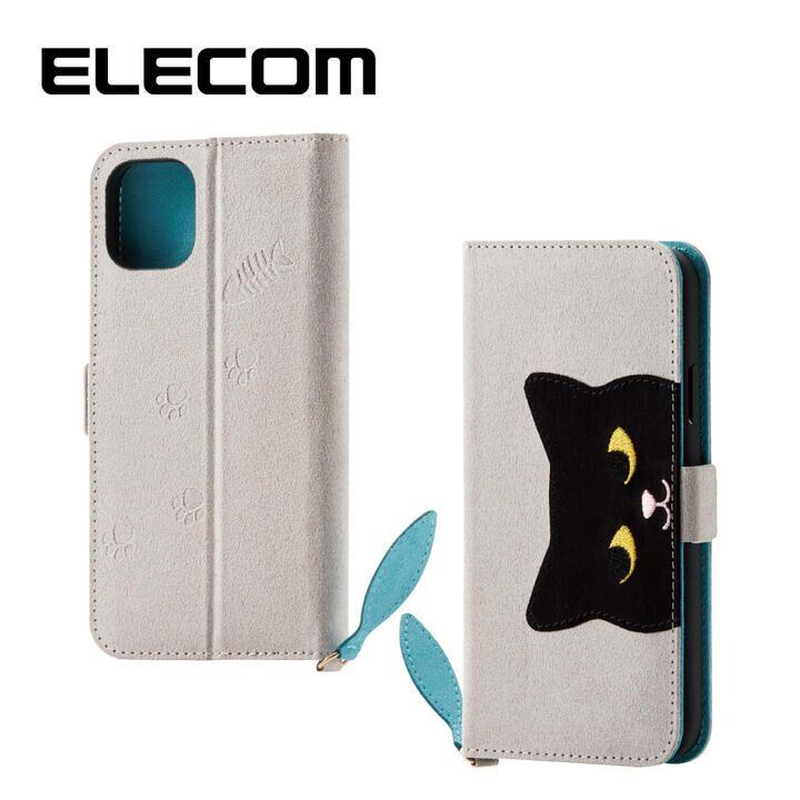 iPhone 11 ケース エレコム おしゃれ ネコ手帳型TPUケース グレー iPhone 11_0