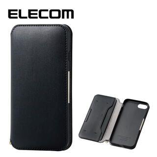 iPhone8/7 ケース エレコム NEUTZ レザー手帳型ケース  耐衝撃 カード収納 ブラック iPhone 8/7