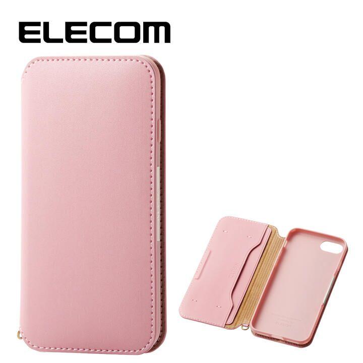 iPhone8/7 ケース エレコム NEUTZ レザー手帳型ケース  耐衝撃 カード収納 ピンク iPhone 8/7_0