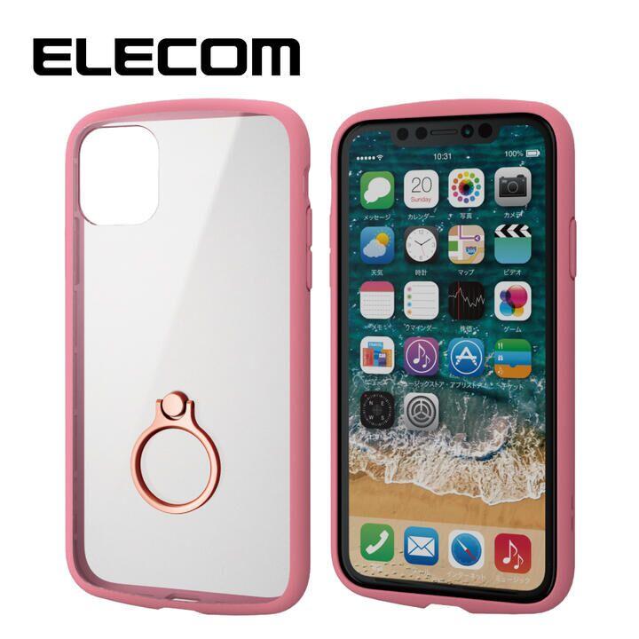 iPhone 11 ケース エレコム TOUGH SLIM LITE リング 衝撃吸収ケース ピンク iPhone 11_0
