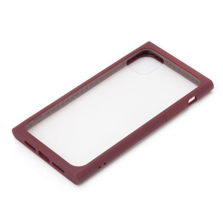 iPhone 11 Pro ケース クリアガラス タフケース スクエア型 レッド iPhone 11 Pro_0