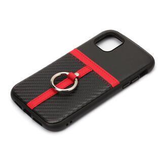 iPhone 11 Pro Max ケース ポケット&リング付ハイブリッドタフケース カーボン調ブラック iPhone 11 Pro Max